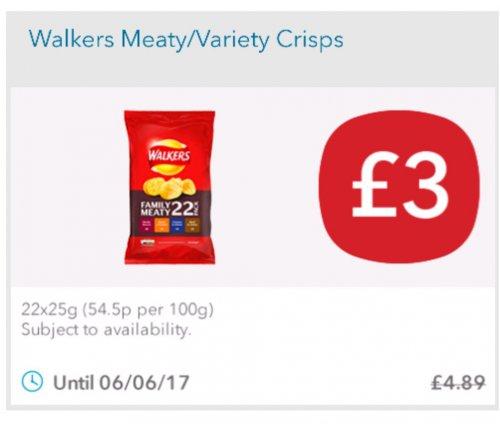 Walkers Crisps 22 x 25g £3 @ coop