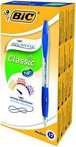 BIC Atlantis Clic Ball Pen 1.0mm Box of 12 (Blue) - £1.19 (Prime) / £5.18 (non-Prime) @ Amazon