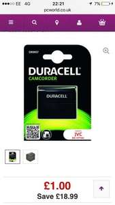 DURACELL DR9657 Lithium-ion Rechargeable Camcorder Battery - £1 @ PC World (C&C)