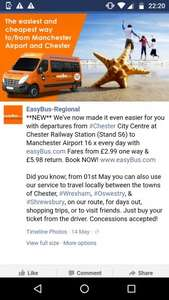 Easybus to/from Manchester Airport to Chester from £2.99 one way (and Wrexham, Shrewsbury and Telford too)! @ Easybus