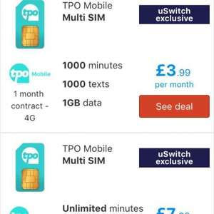 Mobile SIM Only - 1000 minutes, 1000 texts, and 1GB data plan on Three's 4G network - MVNO 'The Peoples Operator'  £3.99/month (monthly rolling contract) - uswitch.com