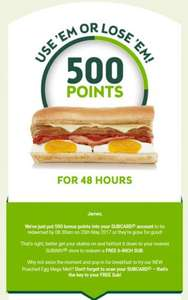 Subway free 6 inch sub (500 points) - invite only