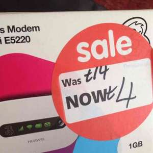 3 Three Mobile Wifi Dongle 1GB £4 instore @ Asda (Liverpool)