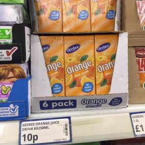 6 x 250ml cartons  of orange juice drink, 10p at poundstretcher