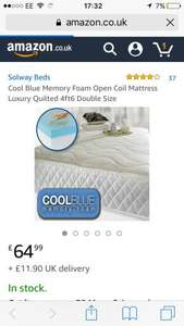 Cool Blue Memory Foam Open Coil Mattress Luxury Quilted 4ft6 Double Size £64.99 / £76.89 delivered - Dispatched from and sold by Solway Beds LTD - Amazon