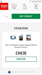 psvr with resident evil 7 and farpoint £349.99 @ Argos