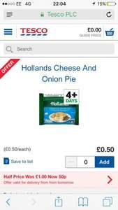 Hollands pies on offer at Tesco starting tomorrow (24th) - 50p each