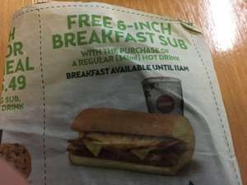 Subway 6 inch breakfast sub and tea £1.10 via voucher in metro