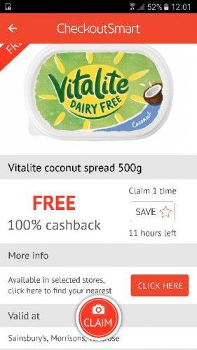 Vitalite Coconut Spread (£1.20) FREE via CheckOutSmart @ Sainsbury's/Waitrose/Morrisons