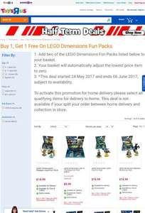 Toys R Us: Buy 1, Get 1 free on Lego Dimensions Fun Packs £9.99