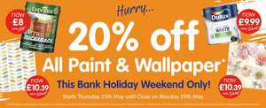 20% off ALL Paint & Wallpaper @ B&M Stores this weekend