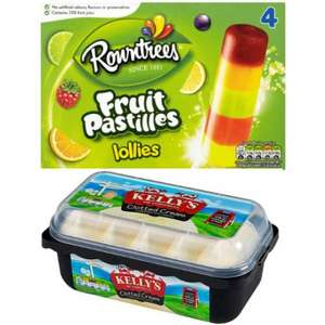 Tesco Ice Cream Deals: Rowntrees Fruit Pastilles Lollies £1, Kelly's Clotted Cream Ice Cream £1.99, Calippo Mini Ice Lolly 6 Pack £1.50, Oreo Ice Cream Sandwich 6 Pack £1.50 And More