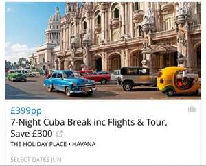 £399 to Havana flights, accommodation and tour £399 @ Travelzoo UK