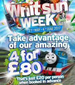 4 tickets for £80 / £20 each when booked a day in advance saving upto £76 on gate prices this Whit half term @ Drayton Manor