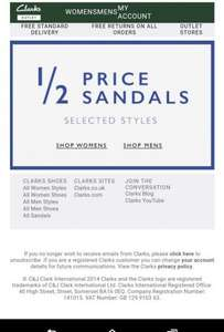 Clarks 50% price sandals+free shipping.