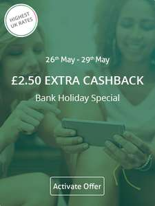 £2.50 extra cashback this bank holiday on £5+ spend via Topcashack e.g. eBay spend
