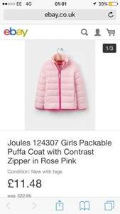 Joules 124307 Girls Packable Puffa Coat with Contrast Zipper in Rose Pink £11.48 Joules on eBay