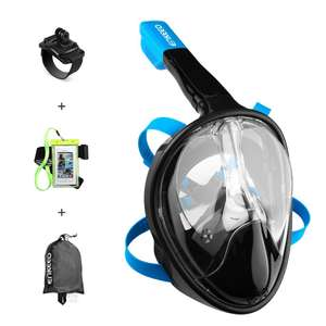 Enkeeo Full Face Snorkel Mask for Adult 180 Seaview Anti-Fog Easybreath Dry, with Gopro Mount Wristband, Waterproof Phone Case, Mesh Bag and Extra 4 Straps - Sold by Suaoki UK and Fulfilled by Amazon for £28.19