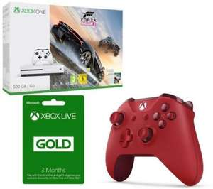 Xbox One S 500GB with Forza Horizon 3 + 3 Months Xbox LIve Gold + Extra Red Wireless Controller £208.99 (More bundles in OP) @ Currys