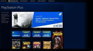 12 Month Playstation Plus Membership + Star Wars Battlefront Ultimate Edition for £39.99 @ PSN UK Store (For People Without Subsciption)