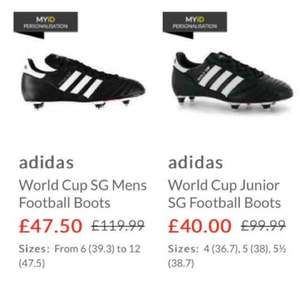 adidas World Cup football boots kids £40 adults £47.50 + £4.99 postage (click n collect with £5 voucher) at sports direct