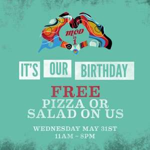 "Free Pizza at MOD Pizza, 11"" any toppings, or salad, Wed 31st  11am-8pm - at all MOD stores (one per person)"