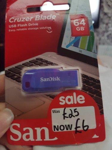 SanDisk cruzer blade 64gb reduced £25 to £6 @ Asda Aberdeen
