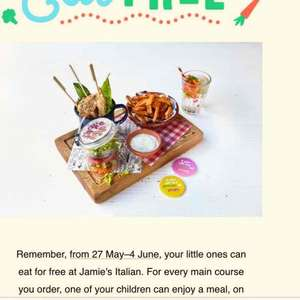 free kids meal with every adults meal, til 4th June £11.95 @ Jamies
