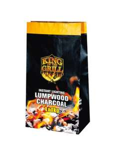 4x1kg Instant Lighting Lumpwood Charcoal only £2.49 at Lidl
