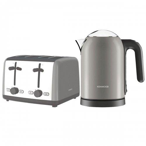 New Kenwood Scene 3KW Electric Kettle 1.6L & 4 Slice Toaster 1800W Bundle Grey £54.00 @ Tesco /  ebay