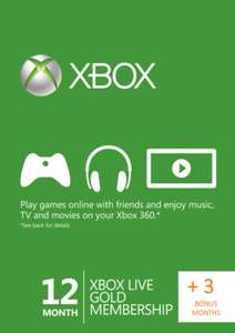 Xbox Live Gold 12+3 months at CDKeys for £37.99, £36 with FB code