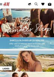 H&M upto 50% off till tomorrow shirts and blouses