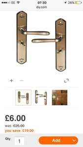 ANTIQUE BRASS EFFECT INTERNAL STRAIGHT BATHROOM DOOR HANDLE, 1 SET £6 @ B&Q