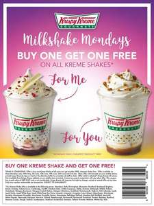 Buy one get one free Krispy Kreme Milkshakes for Milkshake Mondays until 3rd July @ Krispy Kreme