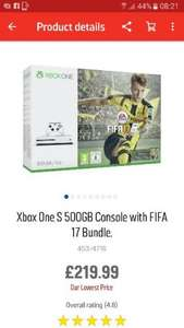 XBOX ONE S WITH FIFA 17 £219.99 Argos