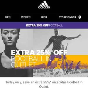 extra 25% off football outlet @ Adidas online (free C+C / £3.95 Del)