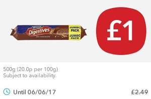 McVities milk chocolate digestives jumbo pack (500g!) for £1 down from £2.49 @ Coop