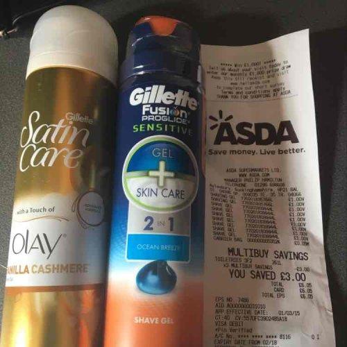3 Gillette shave gels for £2 with ASDA 3for2