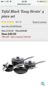 Tefal Black 'Easy Strain' 4 piece set £40.50 @ Debenhams