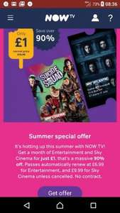 1 month sky cinema AND entertainment pass for £1.00 @ now tv (New customers)