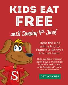 Kids eat free this half term with purchase of adult main meal until 4th June @ Frankie and Bennys