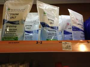 Westlab Epsom Salts, Himalayan Salts and Dead Sea Salts 1Kg Half price and 3 for 2 - £2.50 at Asda instore
