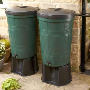 2 x 200L linked water butts. 400L of capacity for £51 with home delivery @ EverGreener