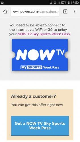 Now TV Sky Sports Week Pass - Offers - npower