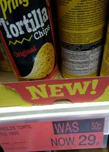 Pringles tortilla chips 180g tube 29p @ B&M