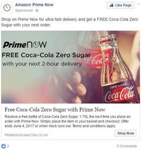 Free Coke Zero 1.75l with Amazon Prime Now