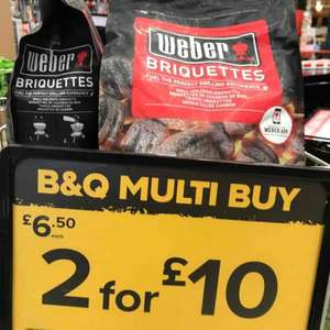 Weber BBQ charcoal briquettes - 2 for £10 B&Q in store 8kg