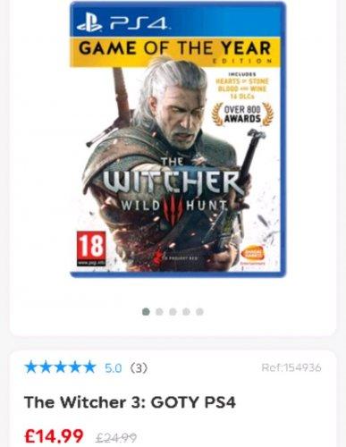 The Witcher 3: Wild Hunt - GOTY (PS4/Xbox) £14.99 @ SmythsToys