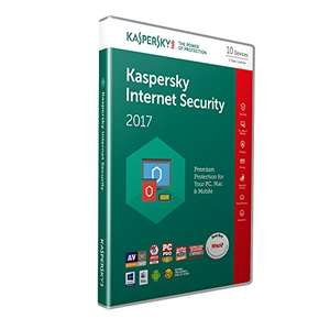 Kaspersky Internet Security 2017- £7.49 for 1 device, £10.49 for 3, £10.99 for 5 or £12.49 for 10 (+£1.99 non-Prime) at Amazon