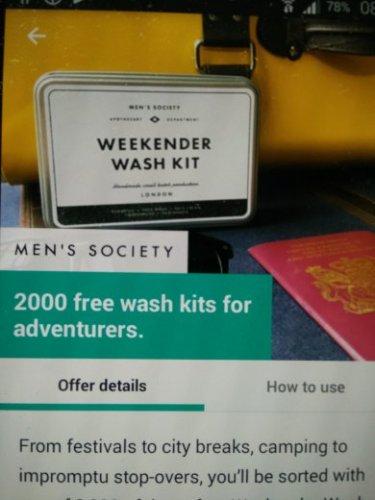 Mens Society free Weekender  wash kit worth £25 with wuntu app (Three)